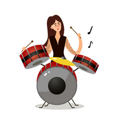 young woman musician sitting and playing drums vector image