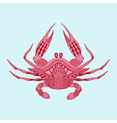 Zentangle stylized red King Krab Hand Drawn vector