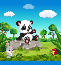 panda in the forest vector image