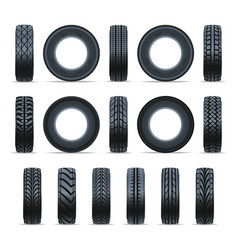 realistic car tire icon collection vector image vector image
