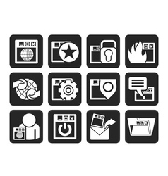 Silhouette Internet and Security Icons vector image vector image