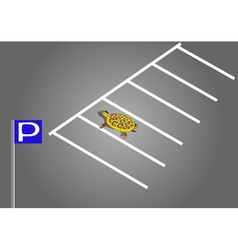 turtle in the parking lot vector image vector image