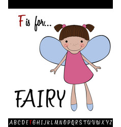 vocabulary worksheet card with cartoon fairy vector image