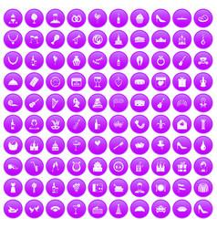 100 banquet icons set purple vector