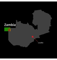 Detailed map of Zambia and capital city Lusaka vector image