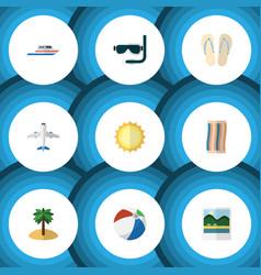 Flat icon beach set of beach sandals sunshine vector