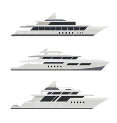 Motor Yacht Set Flat Design Style vector image