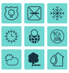 Set of 9 eco icons includes clear climate snow vector