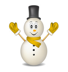 smiling snowman wearing mittens hat and scarf vector image vector image