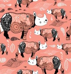 stok vektor patterned rhinos vector image