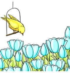 Vintage background with cartoon flowers and bird vector image vector image