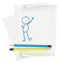 A paper with a sketch of a person standing vector image