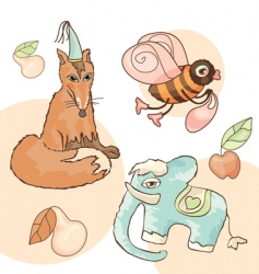 animals and fruits vector image