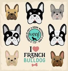 Cute French Bulldog Set vector image vector image