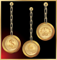 golden coin linked with chain on black background vector image