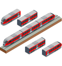 isometric train tracks and modern high speed train vector image vector image