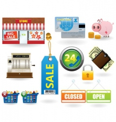 shopping icon set2 vector image vector image