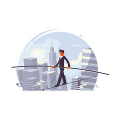 tightrope walker going on rope vector image vector image