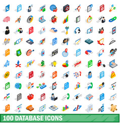 100 database icons set isometric 3d style vector image vector image