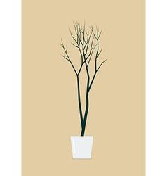 Dead tree in pot vector image vector image