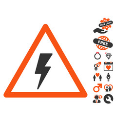 electricity shock warning icon with valentine vector image vector image