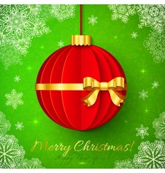 Red origami Christmas ball with golden ribbon vector image