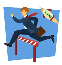 Running Businessman Jumping Over Barrier vector image