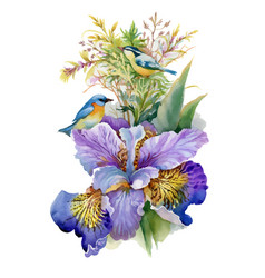 summer watercolor flowers and birds on white vector image vector image
