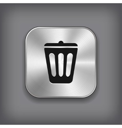 Trash can icon - metal app button vector image