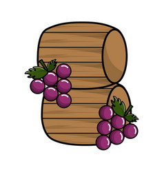 Wool barrels wine with grapes fruit vector