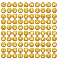 100 building icons set gold vector