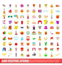 100 festive icons set cartoon style vector