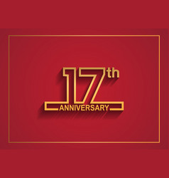 17 anniversary design with simple line style vector