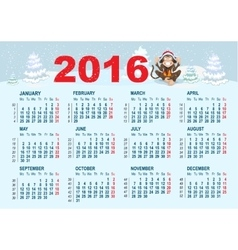 2016 Calendar template Monkey is sitting on snow vector image