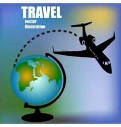 aircratf and globus vector image vector image