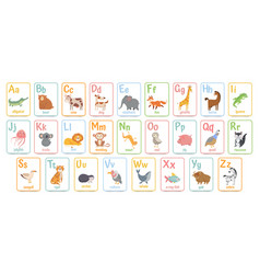 alphabet cards for kids educational preschool vector image