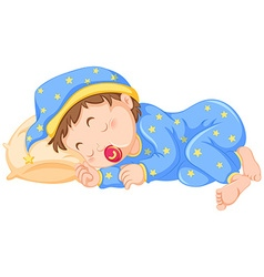 Baby boy sleeping with pacifier on vector