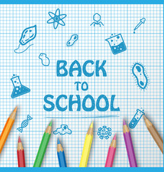 back to school text drawing on paper graph with vector image