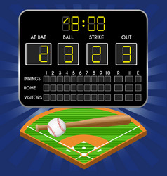 baseball field with scoreboard numbers bat ball vector image