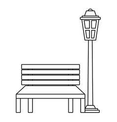 bench and lamp park decoration elements vector image