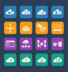 Big data cloud computing icons set vector