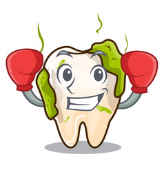 Boxing character unhealthy decayed teeth before vector