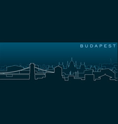 Budapest multiple lines skyline and landmarks vector