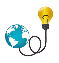 bulb light with world planet vector image