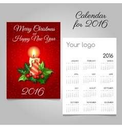 Calendar with Christmas candle and Holly berry vector image vector image