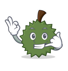 Call me durian mascot cartoon style vector