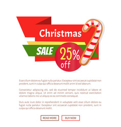Candy striped stick on web poster christmas vector