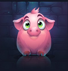 cartoon big pig on a brick wall background vector image