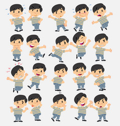 Cartoon character asian boy in jeans set with vector