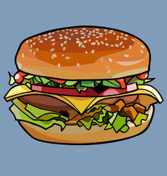 cartoon drawn cheeseburger sandwich with cheese vector image